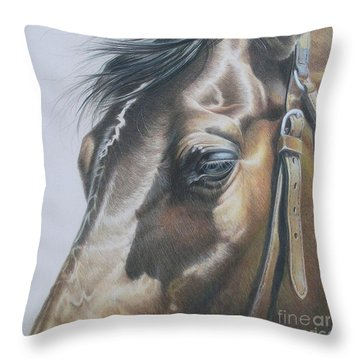 Buckles And Belts In Colored Pencil Throw Pillow by Carrie L Lewis