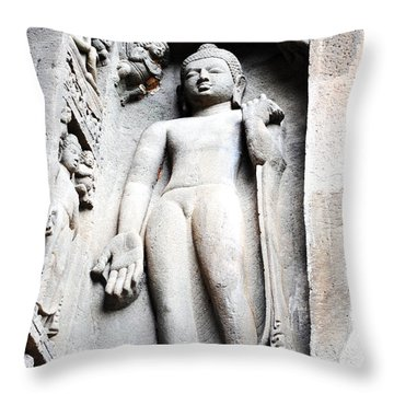 Buddha Statue At Ajanta Caves India Throw Pillow by Sumit Mehndiratta