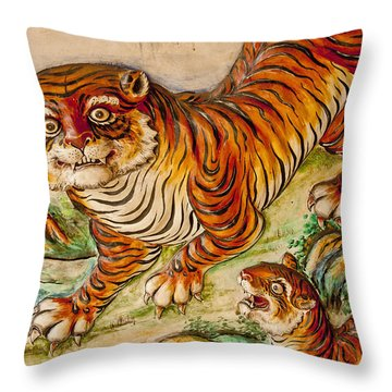 Buddhist Temple Decorations In Throw Pillow by Rowan Gillson