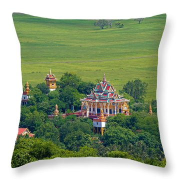 Buddist Temple Throw Pillow by David Freuthal