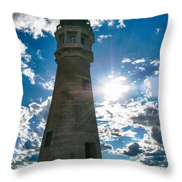 Buffalo Lighthouse 15717c Throw Pillow by Guy Whiteley