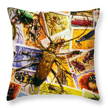 Bugs On Postage Stamps Throw Pillow by Garry Gay