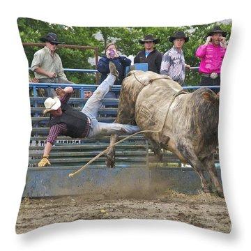 Bull 1 - Rider 0 Throw Pillow by Sean Griffin