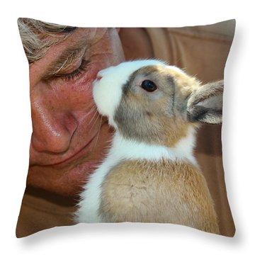 Bunny Kisses Throw Pillow by Theresa Johnson