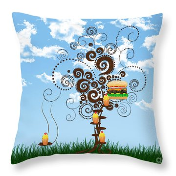 Burger Tree House And The Cupcake Kids  Throw Pillow by Andee Design