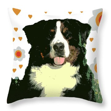 Burmese Mountain Dog Throw Pillow by One Rude Dawg Orcutt