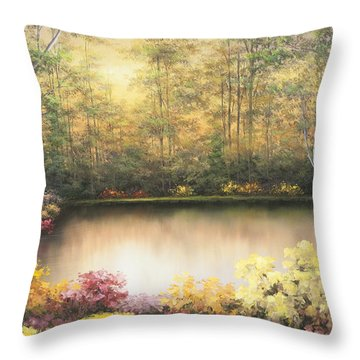 Bursting In Autumn Throw Pillow by Diane Romanello