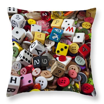 Buttons And Dice Throw Pillow by Garry Gay