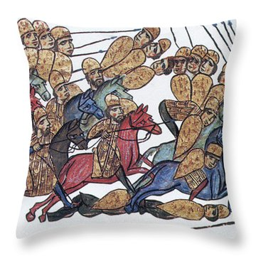 Byzantine Cavalrymen Rout Bulgarians Throw Pillow by Photo Researchers