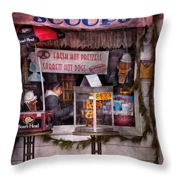 Cafe - Clinton Nj - The Luncheonette  Throw Pillow by Mike Savad