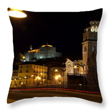 Calahorra Cathedral At Night Throw Pillow by RicardMN Photography