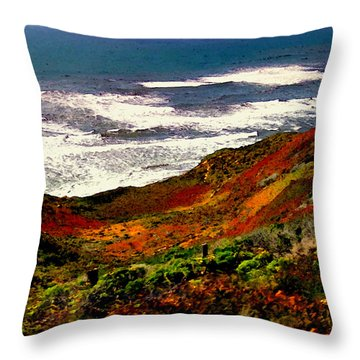 California Coastline Throw Pillow by Bob and Nadine Johnston