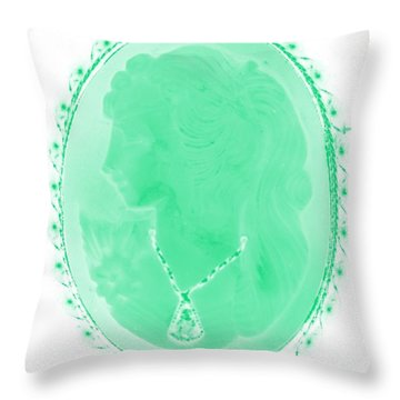 Cameo In Negative Green Throw Pillow by Rob Hans