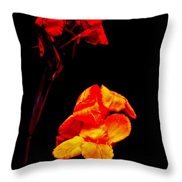 Canna Lilies On Black Throw Pillow by Mother Nature