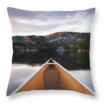 Canoeing In Ontario Provincial Park Throw Pillow by Oleksiy Maksymenko