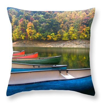Canoes At Fontana Throw Pillow by Debra and Dave Vanderlaan