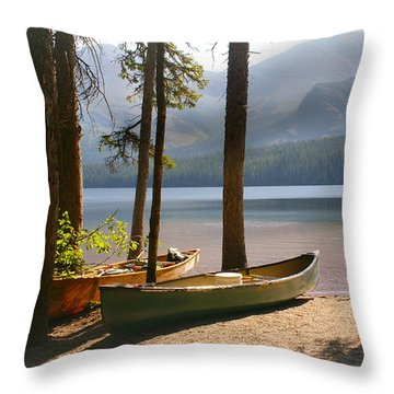 Canoes At The Ready Throw Pillow by Marty Koch