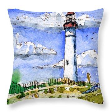 Cape May Lighthouse Study Throw Pillow by John D Benson