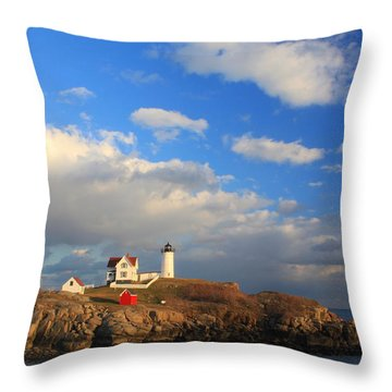 Cape Neddick Nubble Lighthouse Maine Throw Pillow by John Burk
