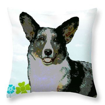 Cardigan Welsh Corgi Throw Pillow by One Rude Dawg Orcutt