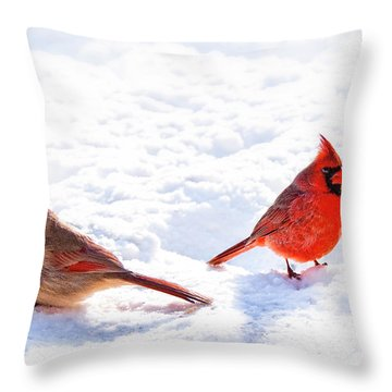 Cardinal Couple Throw Pillow by Tamyra Ayles