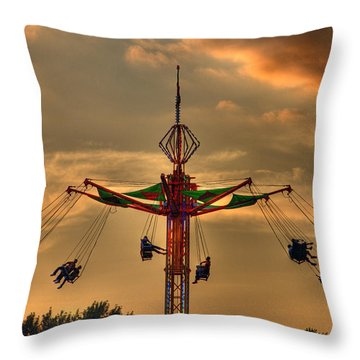 Carnival Ride Throw Pillow by Nicholas  Grunas