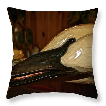 Carved Goose Throw Pillow by Susan Herber