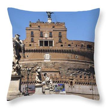 Castel Saint Angelo On The River Tiber. Rome Throw Pillow by Bernard Jaubert