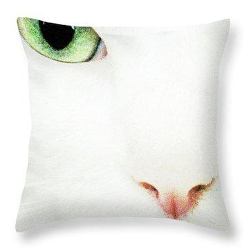 Cat Eye Throw Pillow by Julie Niemela