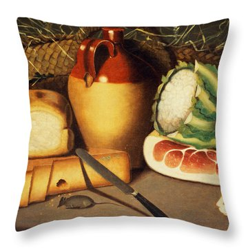 Cat Mouse Bacon And Cheese Throw Pillow by Anonymous