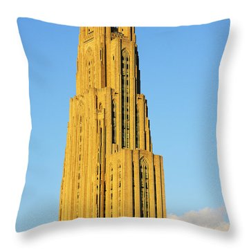 Cathedral Of Learning In Evening Light Throw Pillow by Thomas R Fletcher
