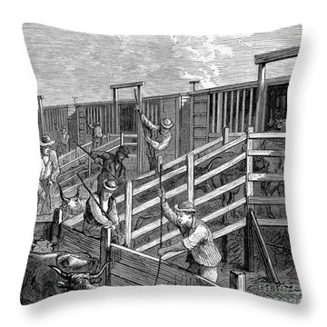 Cattle Drive, 1874 Throw Pillow by Granger