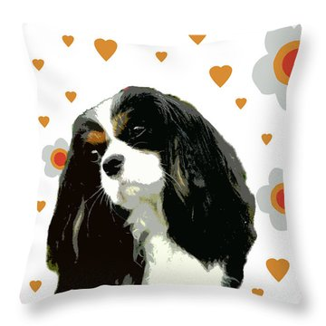 Cavalier King Charles Spaniel Throw Pillow by One Rude Dawg Orcutt