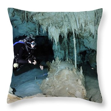 Cavern Diver In Dos Ojos Cenote System Throw Pillow by Karen Doody