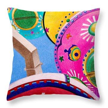 Celestial Ferris Wheel Throw Pillow by Glenda Zuckerman