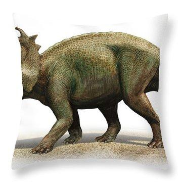Centrosaurus Apertus, A Prehistoric Era Throw Pillow by Sergey Krasovskiy