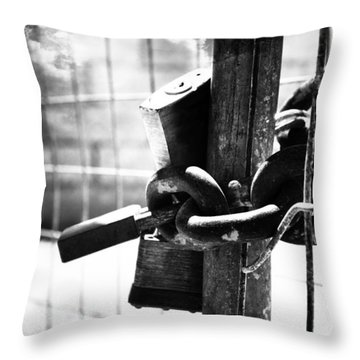 Chained Gate Throw Pillow by Phill Petrovic