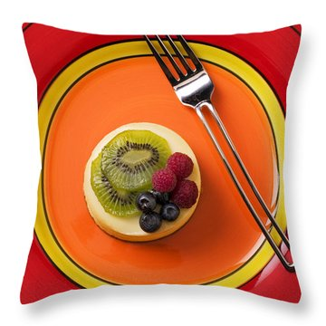 Cheesecake On Plate Throw Pillow by Garry Gay