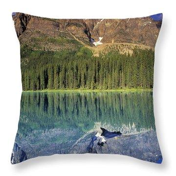 Chephren Lake And Mt. Chephren, Banff Throw Pillow by Darwin Wiggett