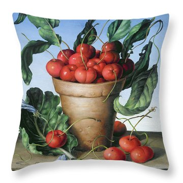 Cherries In Terracotta With Blue Flower Throw Pillow by Amelia Kleiser
