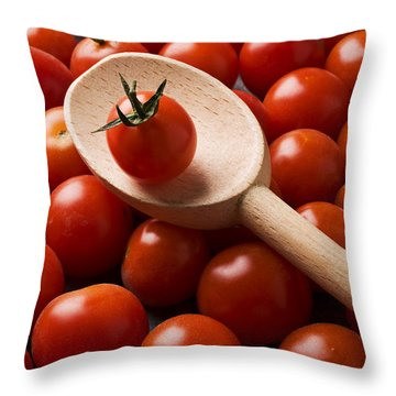Cherry Tomatoes And Wooden Spoon Throw Pillow by Garry Gay