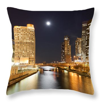 Chicago At Night At Columbus Drive Bridge Throw Pillow by Paul Velgos