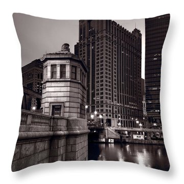 Chicago River Bridgehouse Throw Pillow by Steve Gadomski