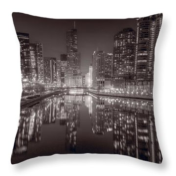 Chicago River East Bw Throw Pillow by Steve Gadomski