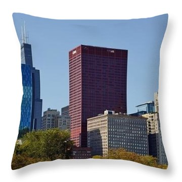 Chicago Skyline From Millenium Park Throw Pillow by Christine Till