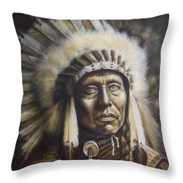 Chief Throw Pillow by Tim  Scoggins
