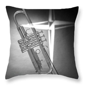 Christian Cross On Trumpet Throw Pillow by M K  Miller