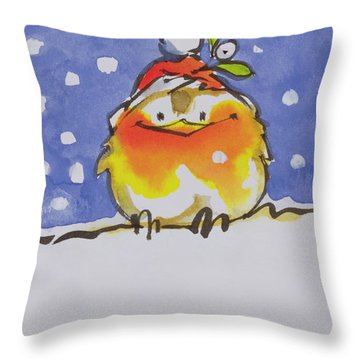 Christmas Robin Throw Pillow by Diane Matthes