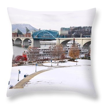 Christmas Snow Throw Pillow by Tom and Pat Cory