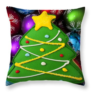 Christmas Tree Cookie With Ornaments Throw Pillow by Garry Gay